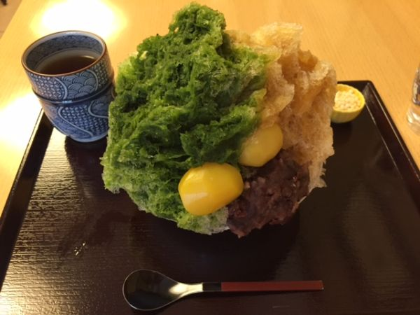 Japanese shaved ice in Kyoto Teramachi street.