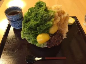 matcha tea shaved ice