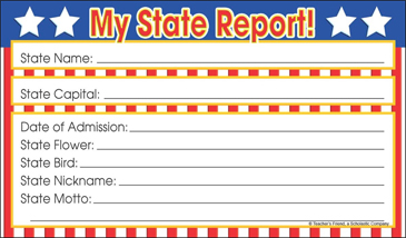 My State Report Fill In Poster