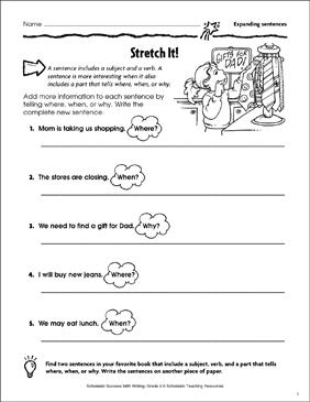 Stretch It Expanding Sentences