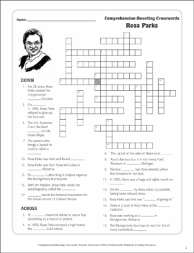 Rosa Parks Text Crossword Puzzle Printable Crossword