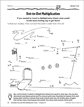 Dot To Dot Multiplication Multiplication 1 9s Printable Connect The Dots Skills Sheets
