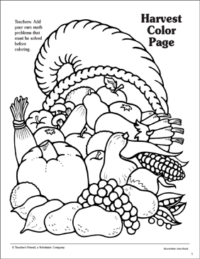 Harvest Cornucopia Pattern Printable Coloring Pages