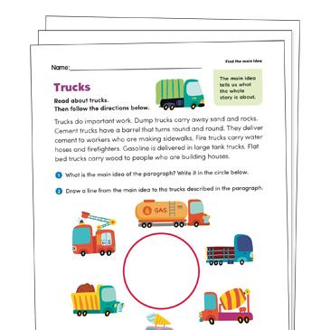 Finding The Main Idea Grade 1 Collection