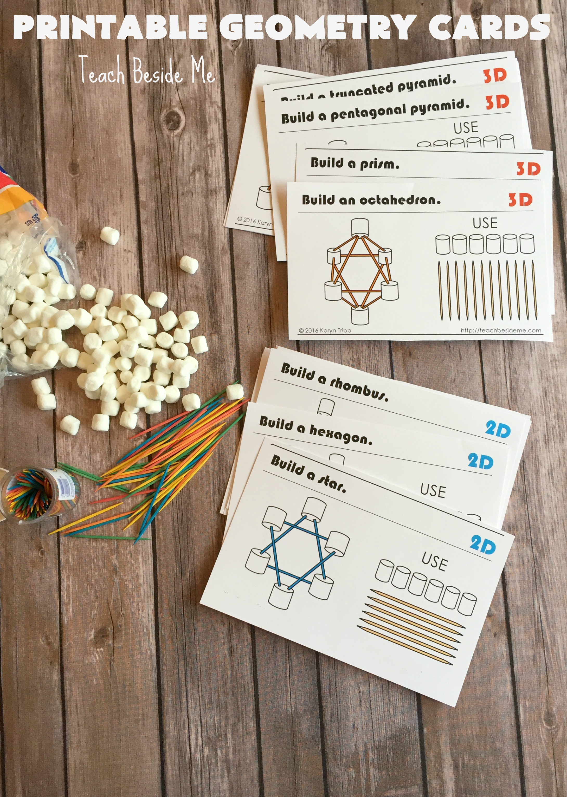 Marshmallow And Toothpick Geometry Cards