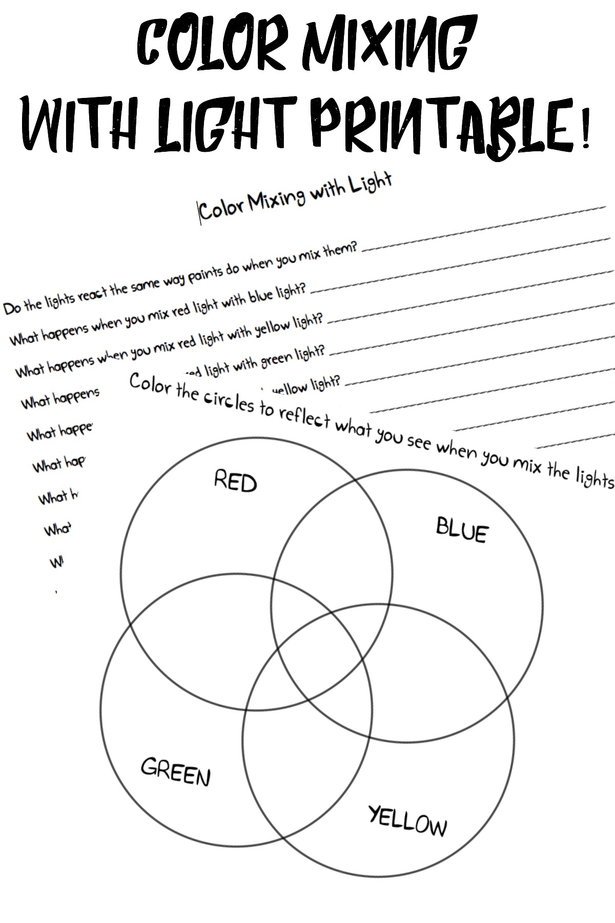Bill Nye Light Worksheet