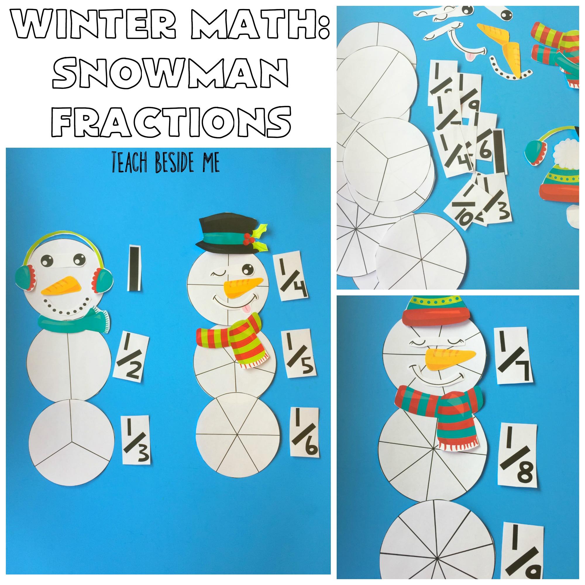 Winter Math Snowman Fractions