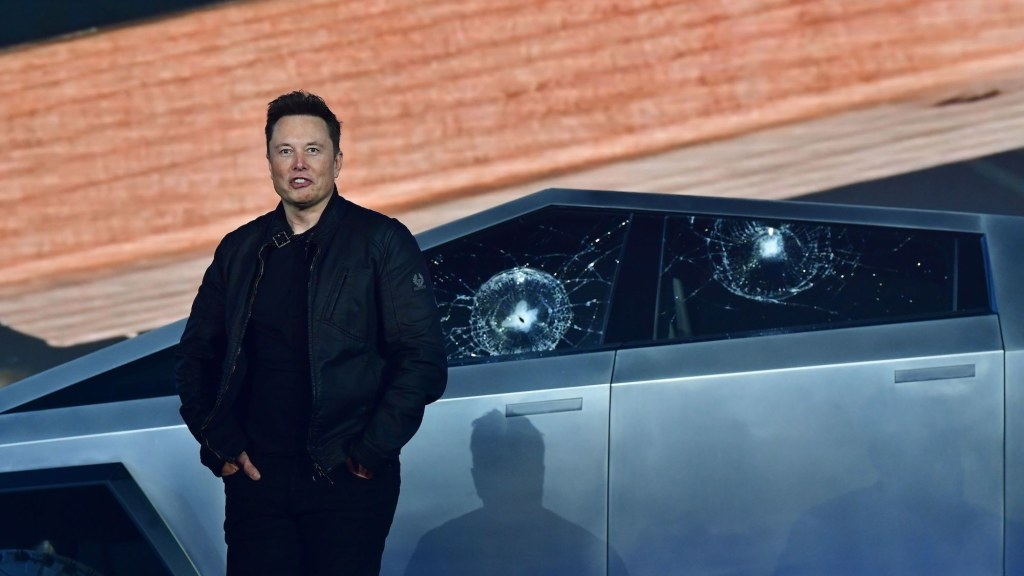 Tesla Cybertruck shattered windows