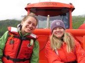 Hydrographers, Hannah and Bekah on the ANWAR boat