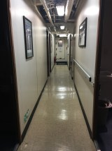 The hallway connecting the scientists' rooms is long and narrow.