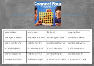 Then play 'Connect 4' with the completed grid (in pairs)