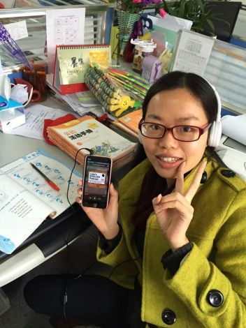 Ariel Tsai (from China) marking her students homework