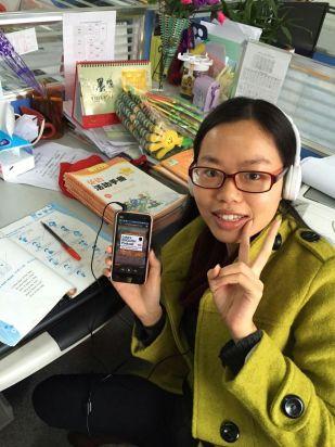 Ariel Tsai (from China) marking her students homework