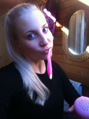 Sabine from Germany - starting the day brushing her teeth in English :)
