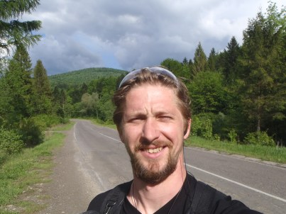 Vasyl Usik on a bike ride in Ukraine