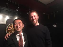 Hideki and Luke at the stand up show in Tokyo