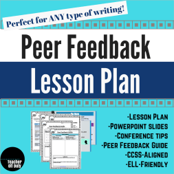 Good for ANY type of writing you have your students do, this is a lesson plan with handouts, slides, and even tips for how to help students hone their peer conferences for each other.