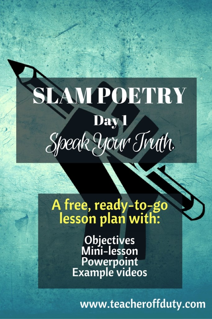 PERFECT way to get kids writing meaningful poetry. Slam Poetry Lesson Plan to introduce your students to #slampoetry. Could be adjusted and used for grades 4-12.
