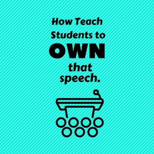 """Students will give their speeches to each other and receive feedback in a """"speed-dating"""" format. They sit in a circle and half the students rotate each round. For each round, partners take turns giving their speech, while the other partner listens and marks feedback. By the end of the class, every student can have practiced their speech 4-5 times in front of just one person, and had a chance to respond to feedback."""