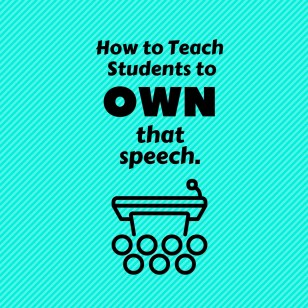 "Students will give their speeches to each other and receive feedback in a ""speed-dating"" format. They sit in a circle and half the students rotate each round. For each round, partners take turns giving their speech, while the other partner listens and marks feedback. By the end of the class, every student can have practiced their speech 4-5 times in front of just one person, and had a chance to respond to feedback."