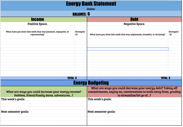 Think of your energy as a bank account. It's finite, and you can spend or replenish energy every day. If you added up your energy debit and income for the week, what would you get? How could you work to increase your income and decrease your debt each month to lead a happier, healthier, and more productive teacher life?