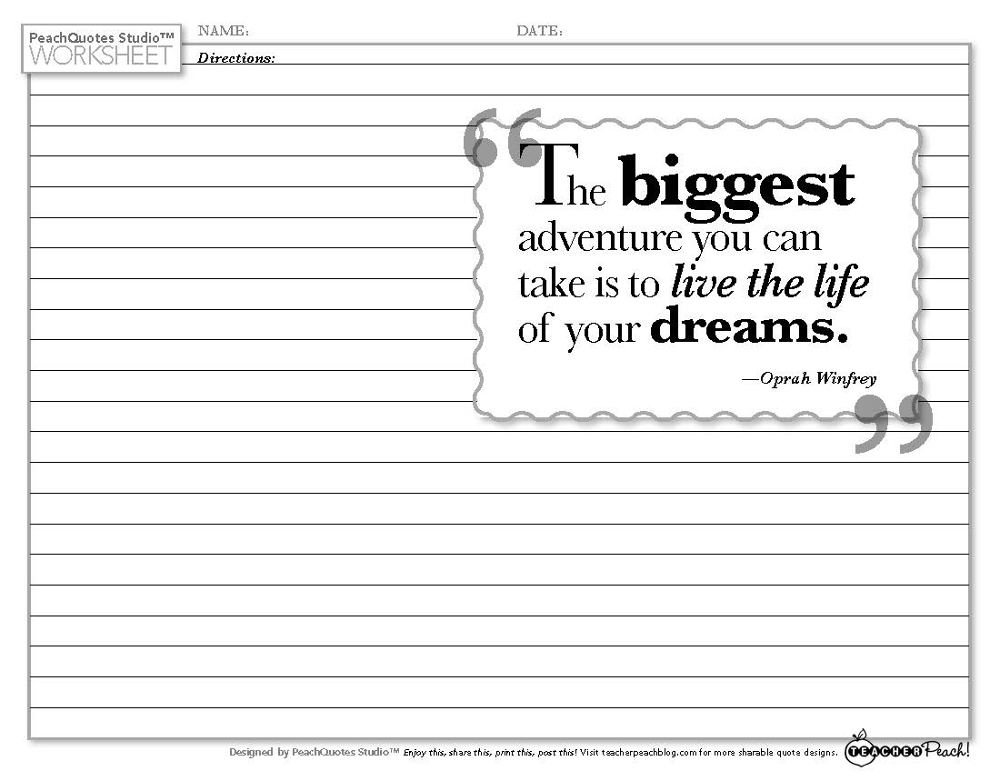 Tp Pqs Worksheet Winfrey Adventure Dreams Reach For The Peach