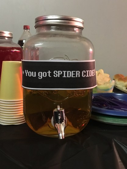 undertale party, spider cider, birthday