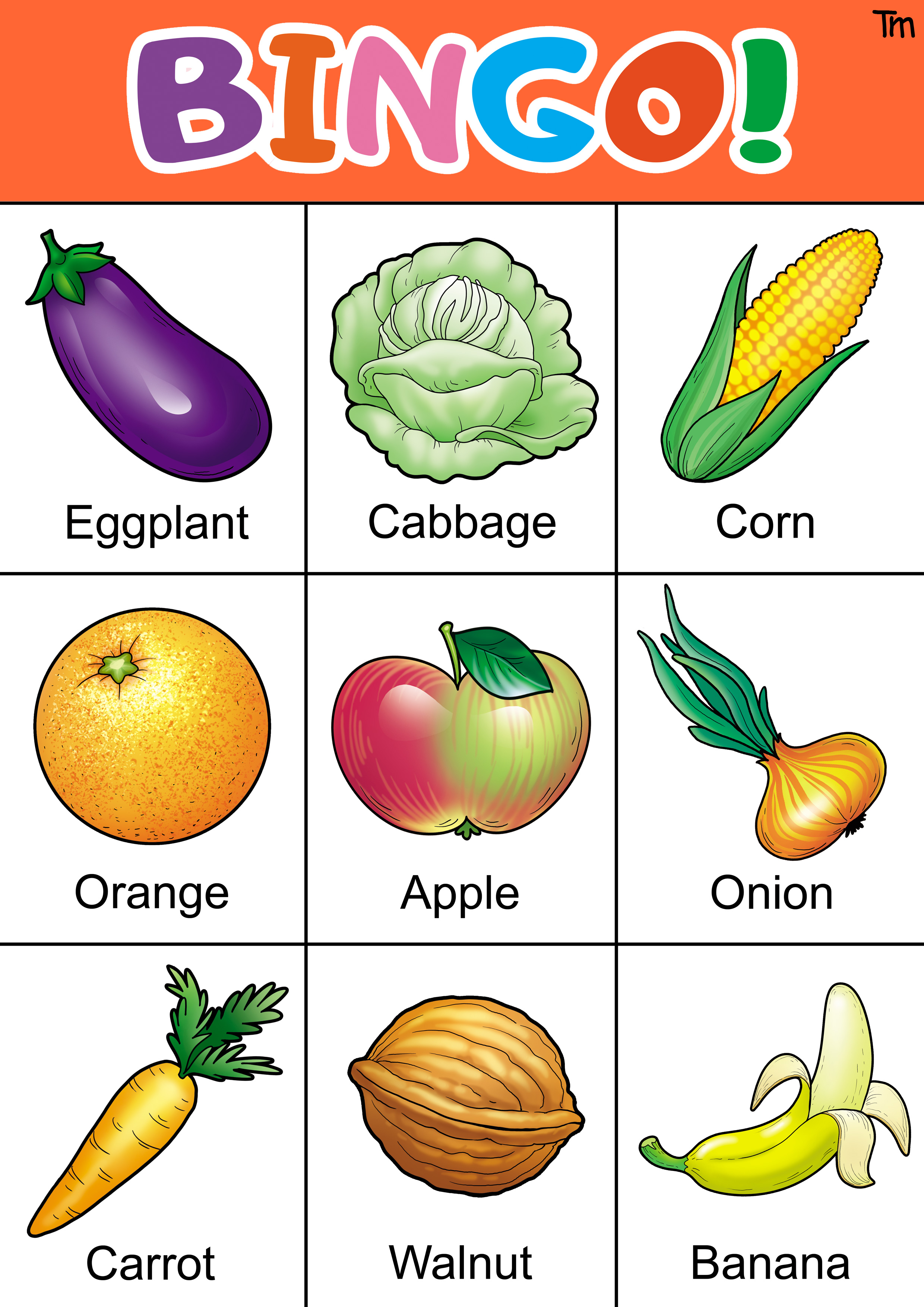 Fruit And Veggie Bingo Game With Free Bingo Cards