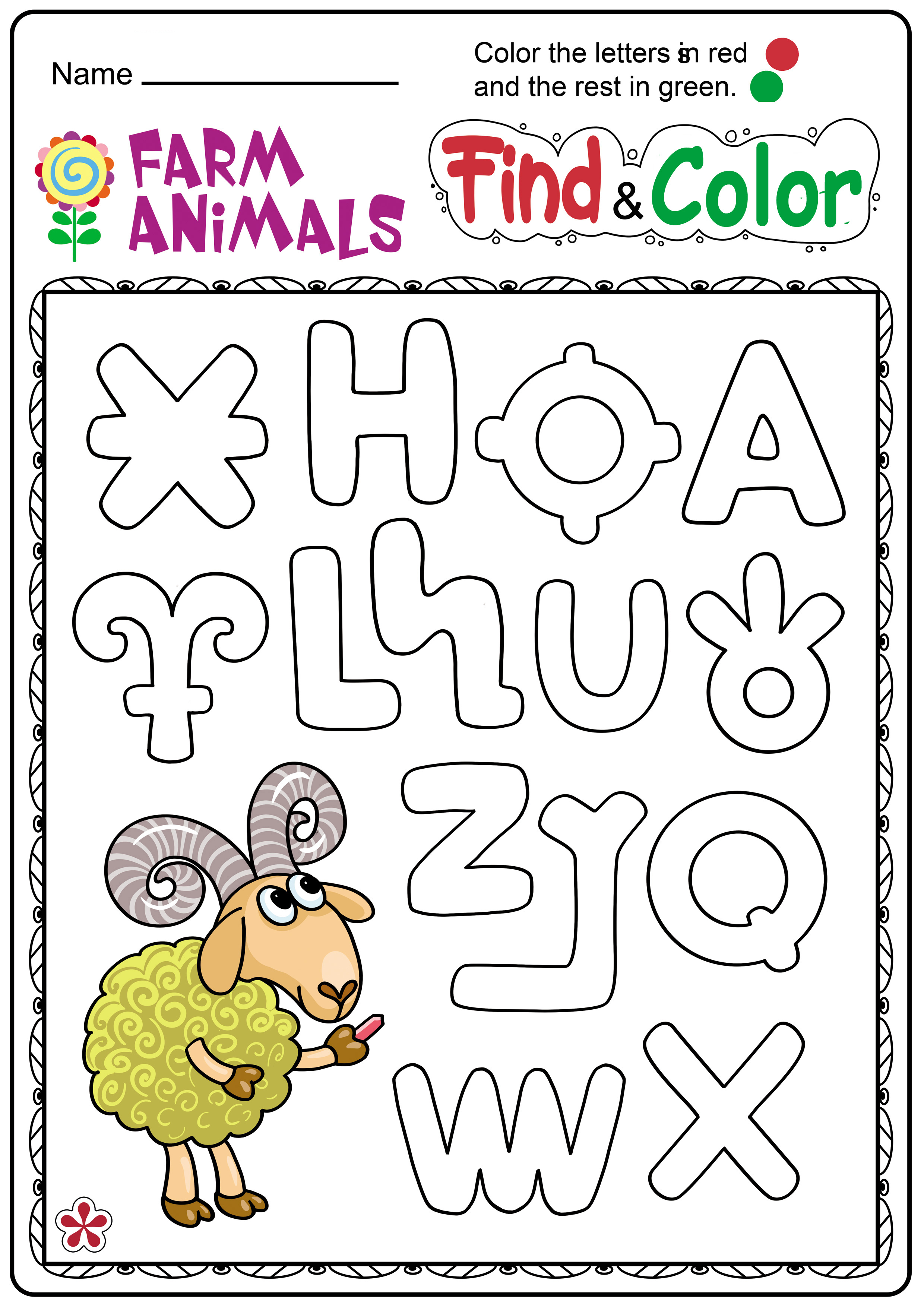 Farm Animals And Letters Worksheet For Kindergarten