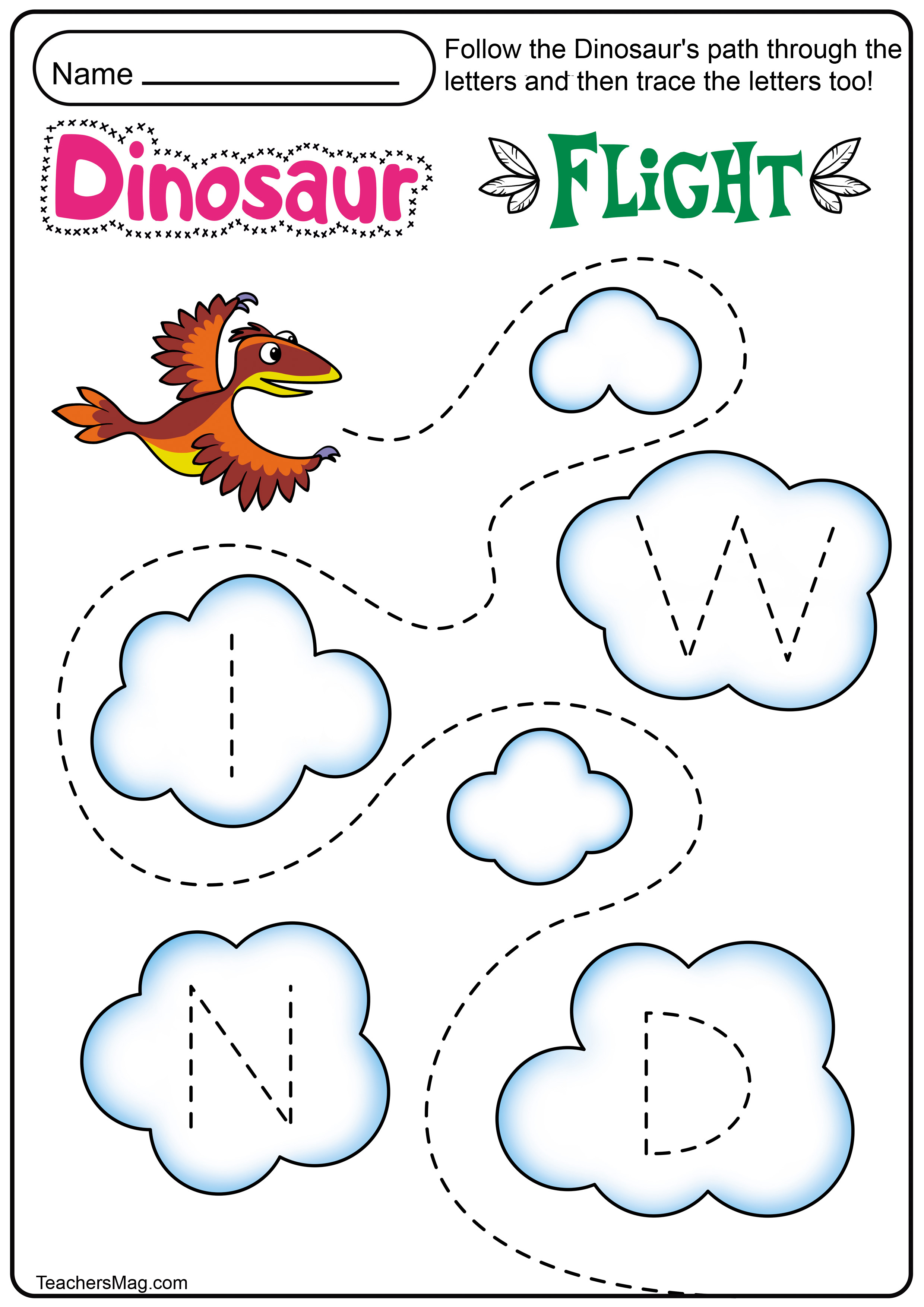 Dinosaur Letters Amp Number Tracing Worksheets