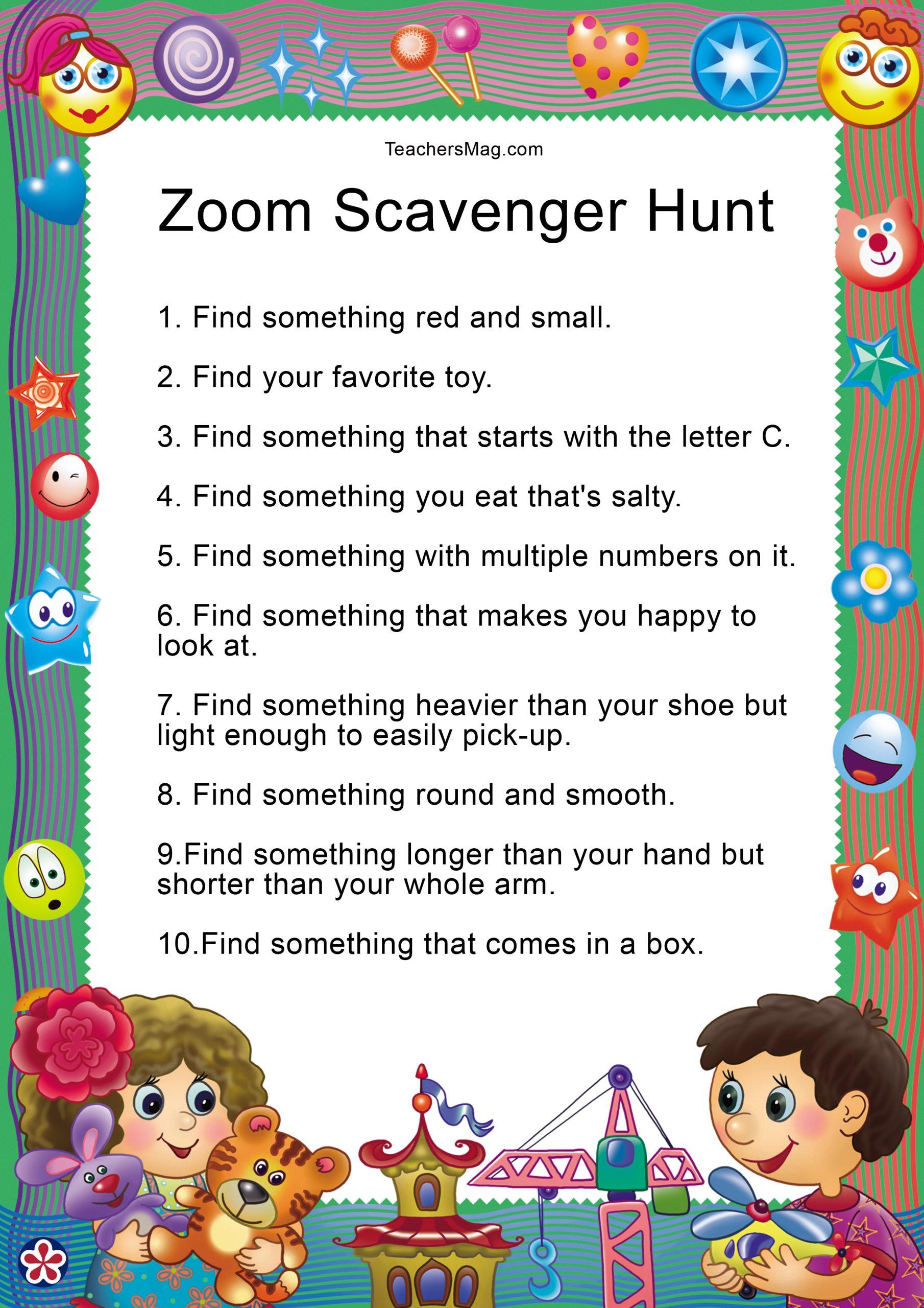 Zoom Scavenger Hunt To Do With Preschoolers