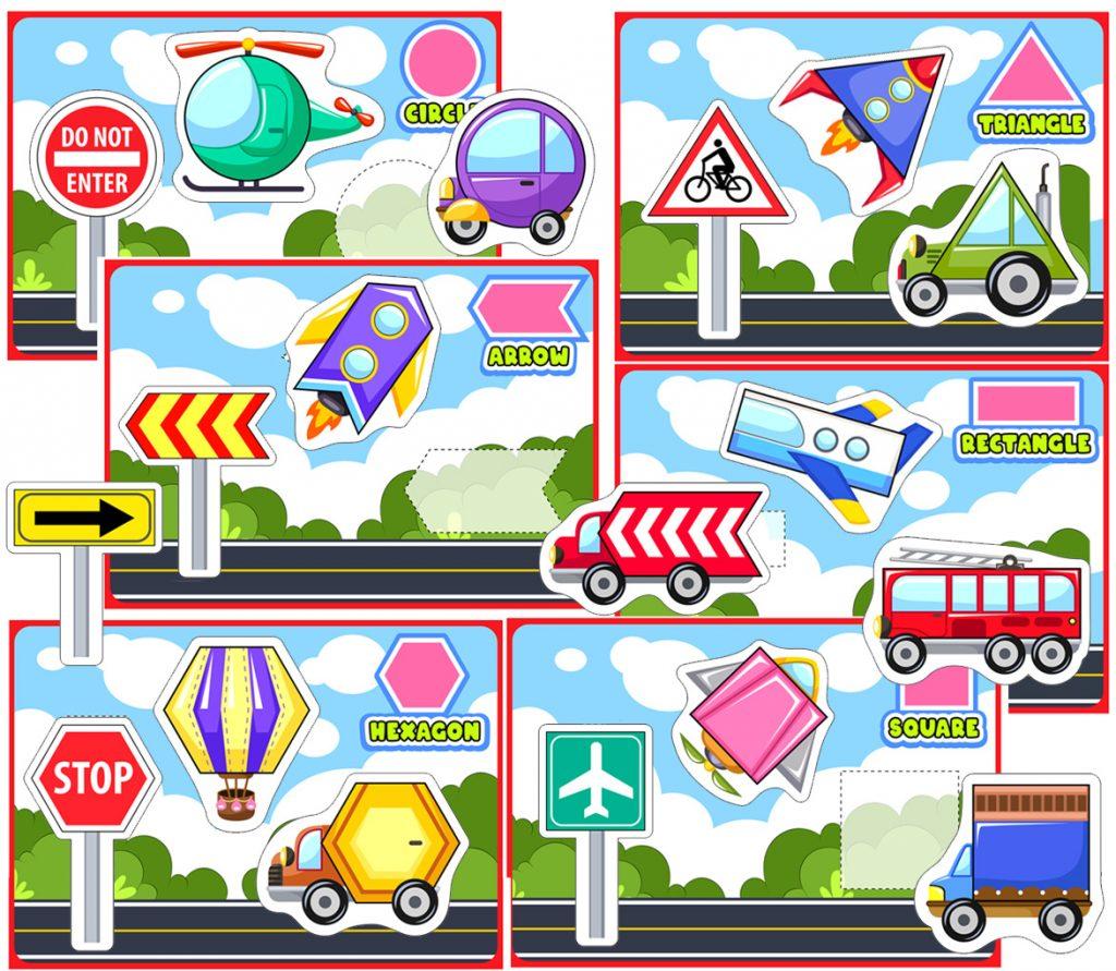 Transportation Shape Worksheets For Kids