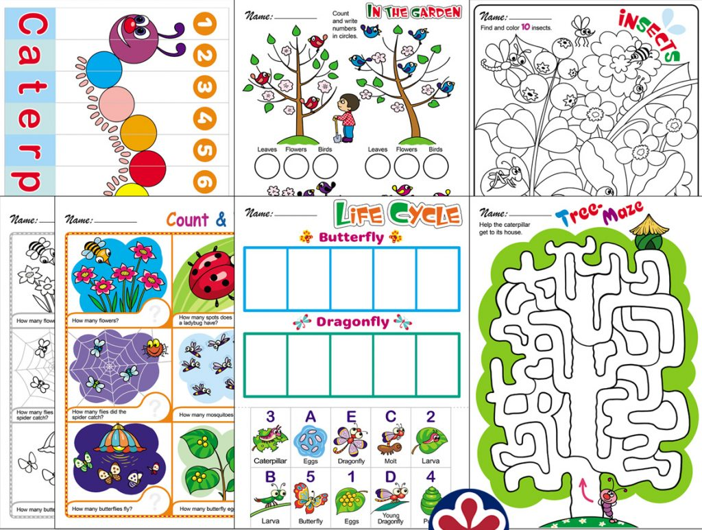 Spring Themed Worksheets With Insects