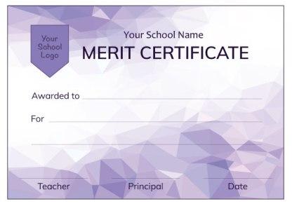 Modern Purple Merit Certificate from Teacher Stickers