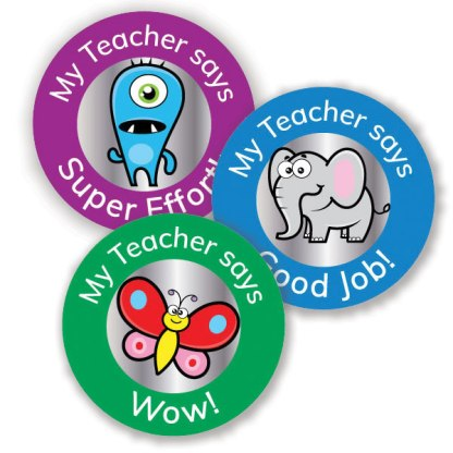 25mm assorted round foil stickers from Teacher Stickers