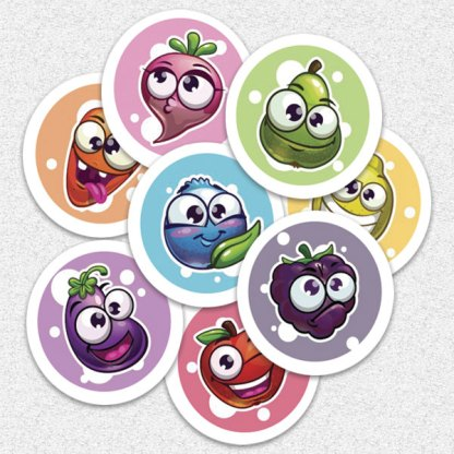 20mm Fruit emoji stickers