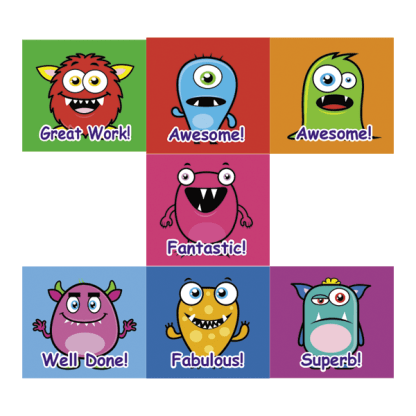 monster themed virtual classroom stickers