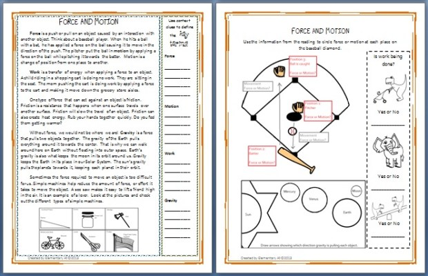 Printable reading passages with graphic organizers.