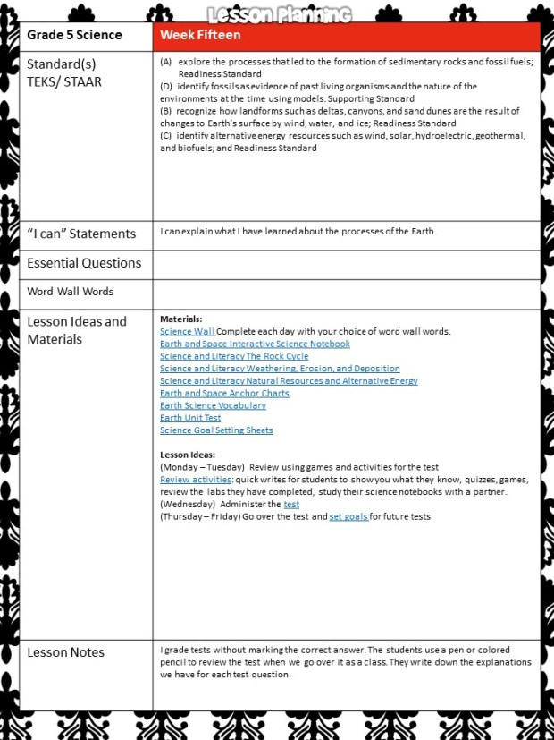 science lesson plans Earth science