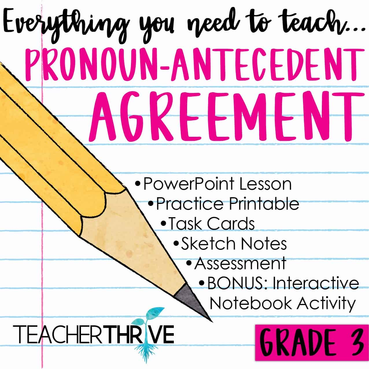 Third Grade Grammar Pronoun Antecedent Agreement