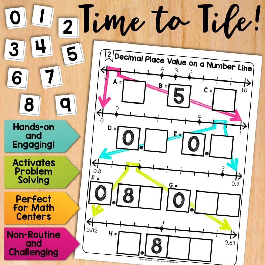 Math Tiles Decimal Place Value On A Number Line Teacher