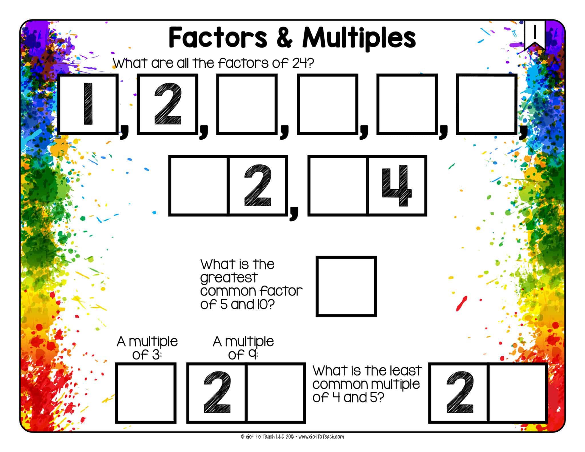 Math Tiles Factors And Multiples Teacher Thrive