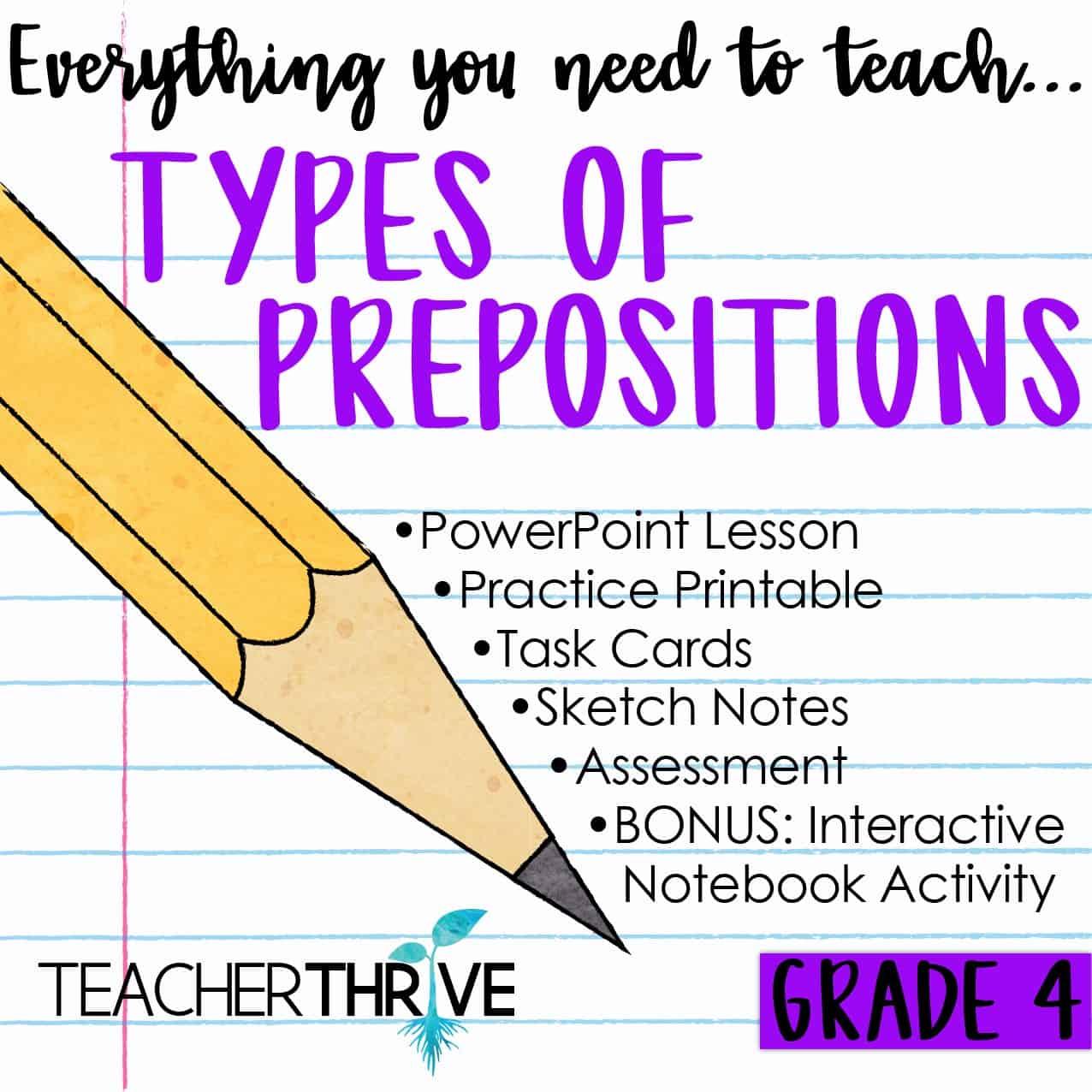 Fourth Grade Grammar Types Of Prepositions Teacher Thrive