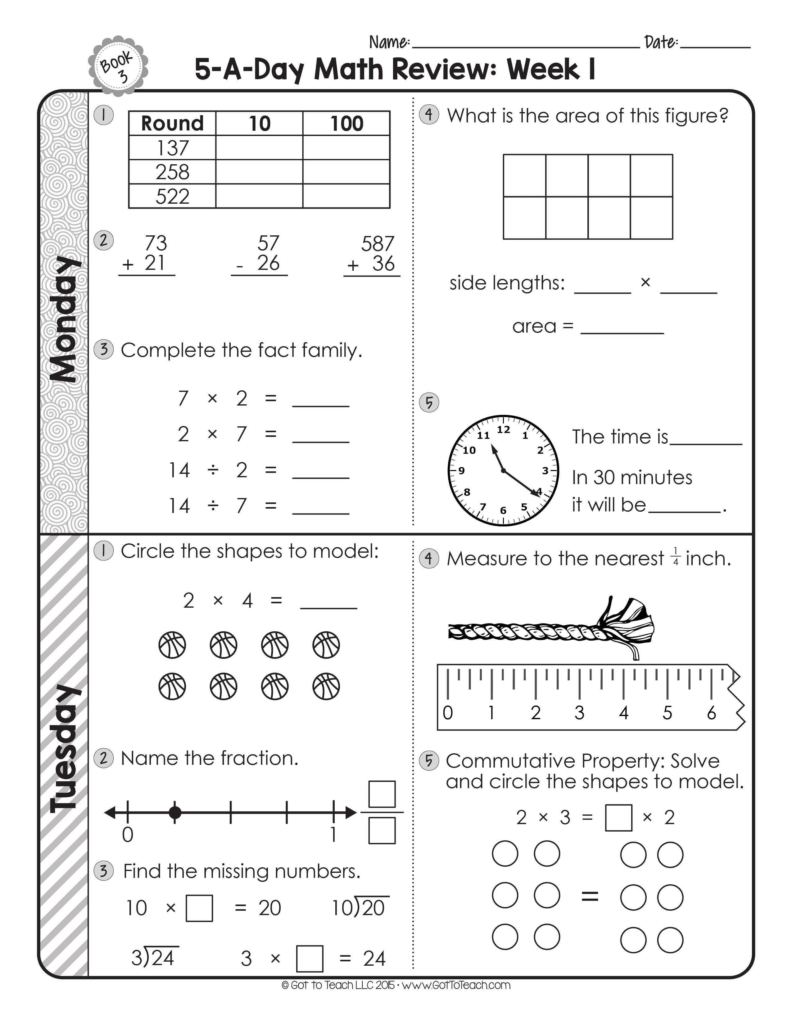 3rd Grade Daily Math Spiral Review Teacher Thrive