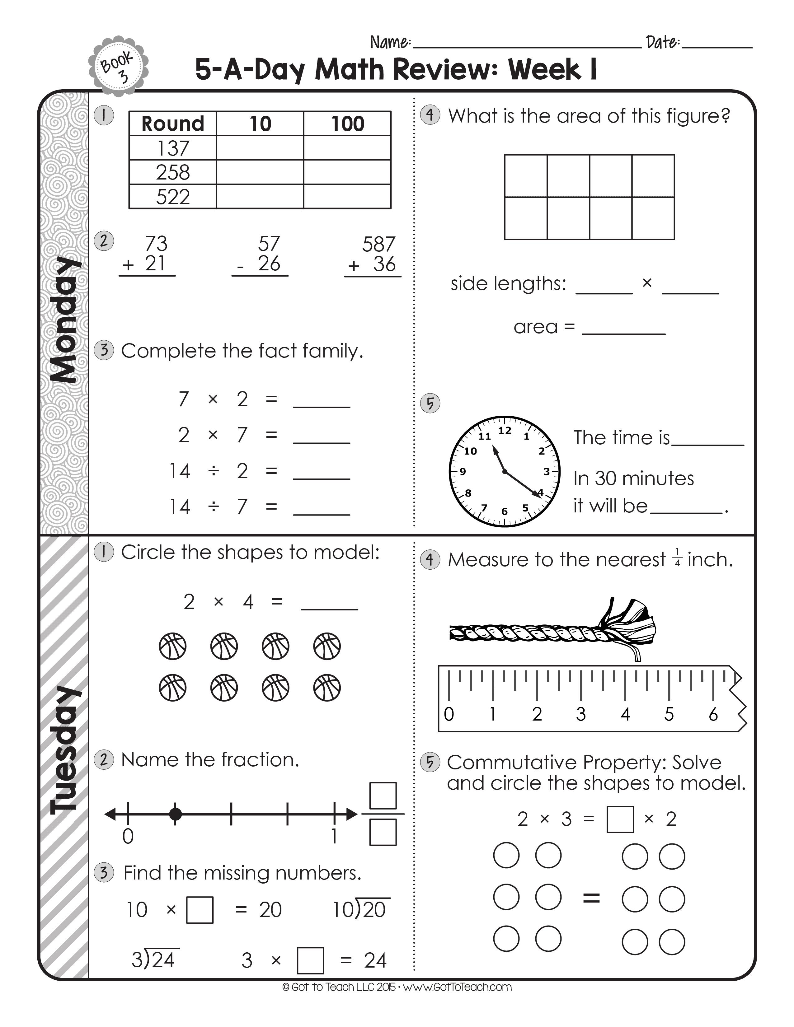 3rd Grade Daily Math Spiral Review Teacher Thrive