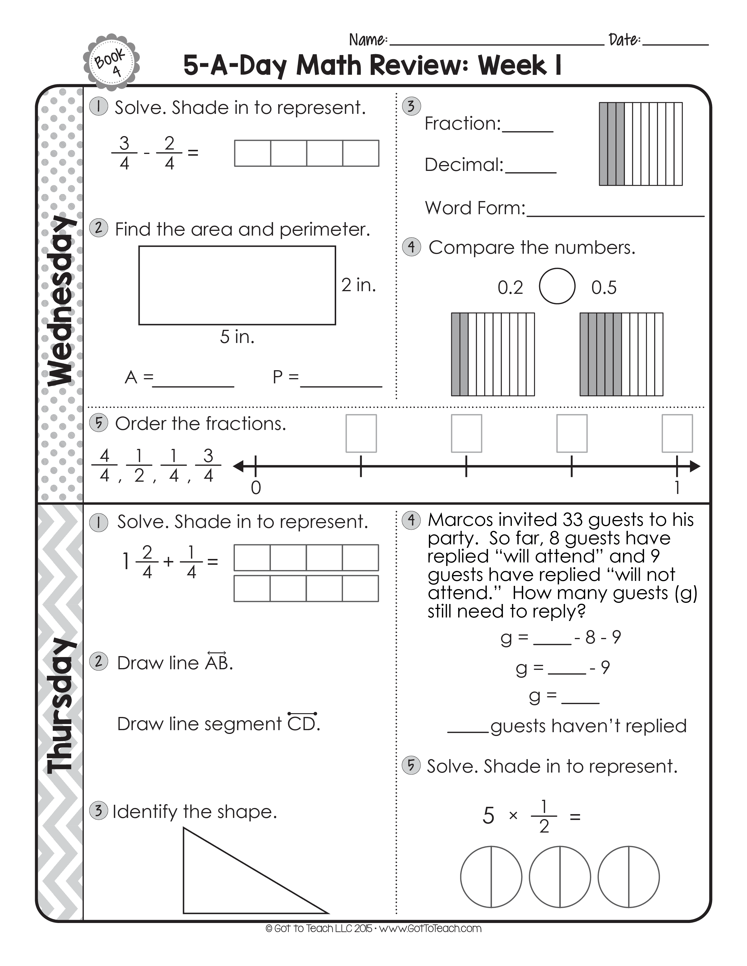 4th Grade Daily Math Spiral Review Teacher Thrive