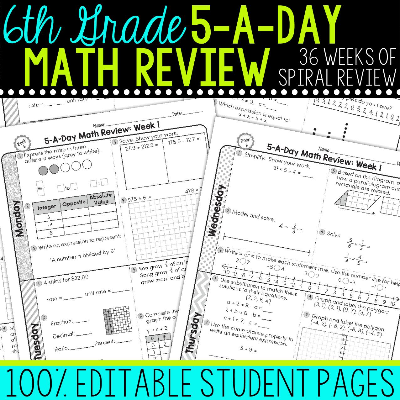 6th Grade Daily Math Spiral Review Teacher Thrive
