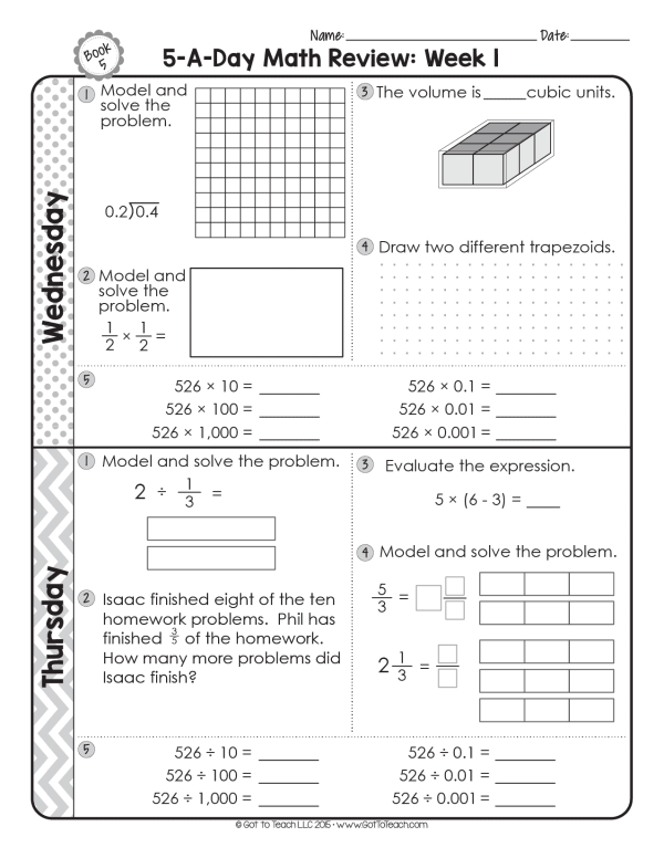 5th grade math review