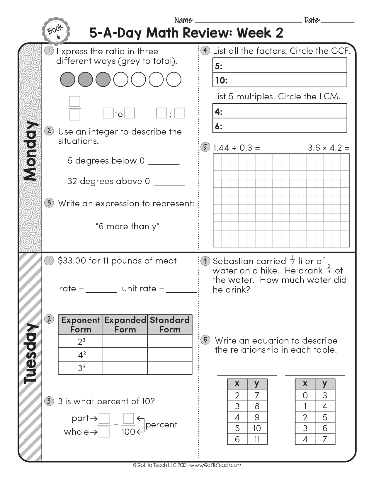 6th Grade Daily Math Spiral Review Teacher Thrive
