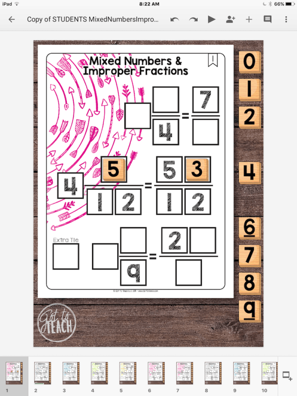 Mixed Numbers Improper Fractions